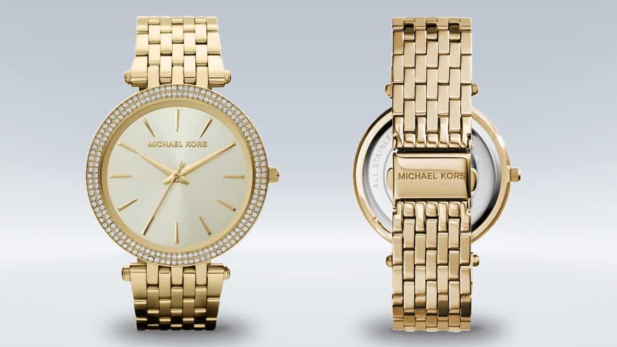 Zlaté dámske hodinky Michael Kors s kamienkami