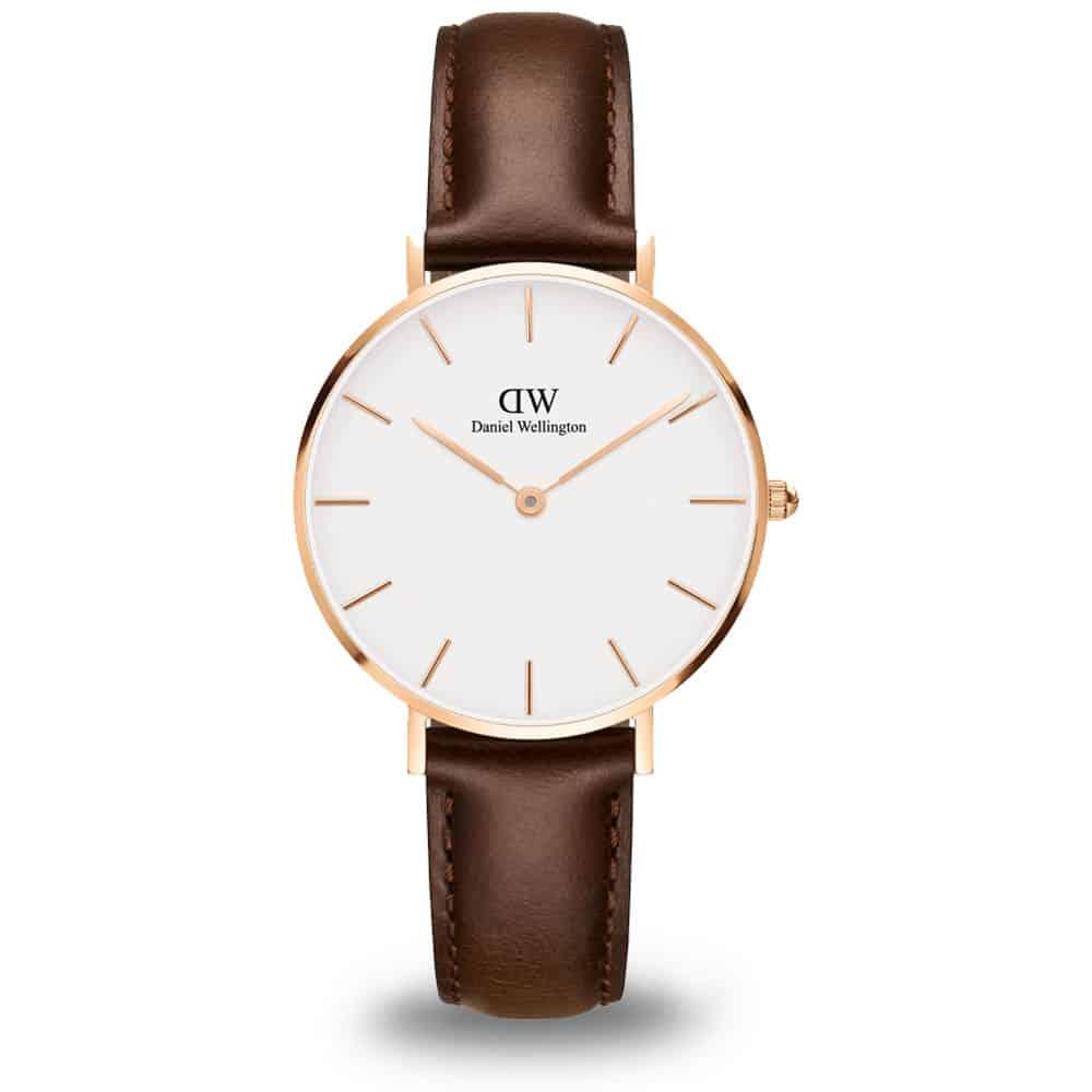 Biele hodinky Daniel Wellington s koženým remienkom