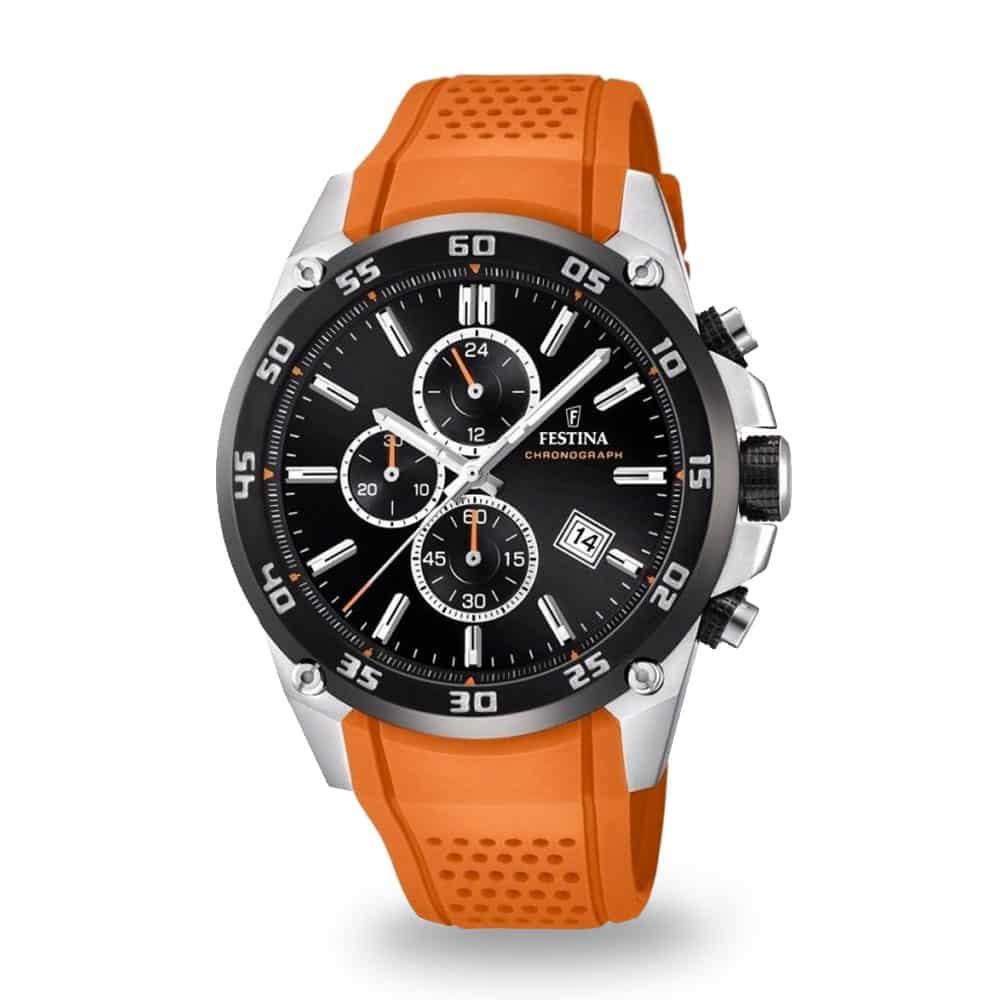 Športové hodinky Festina s oranžovým remienkom
