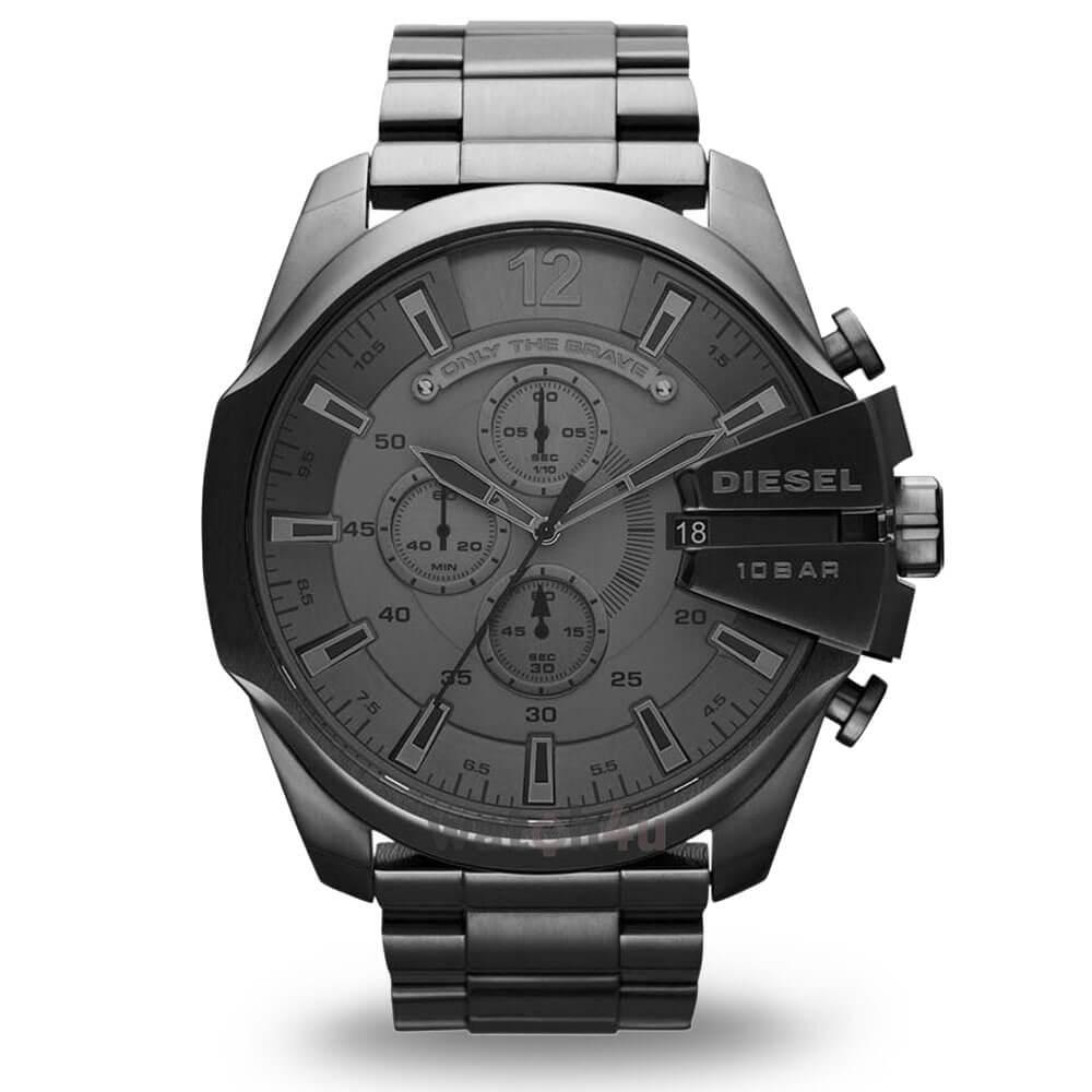 Veľké čierne hodinky Diesel