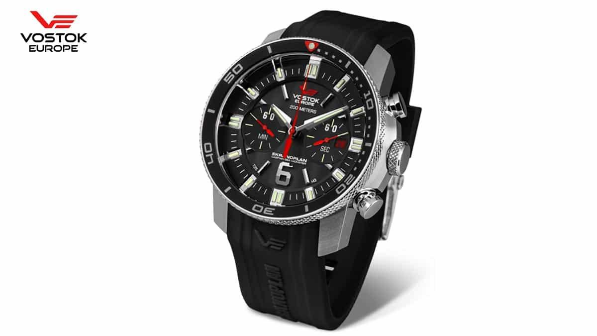 Čierne hodinky Vostok Europe Ekranoplan