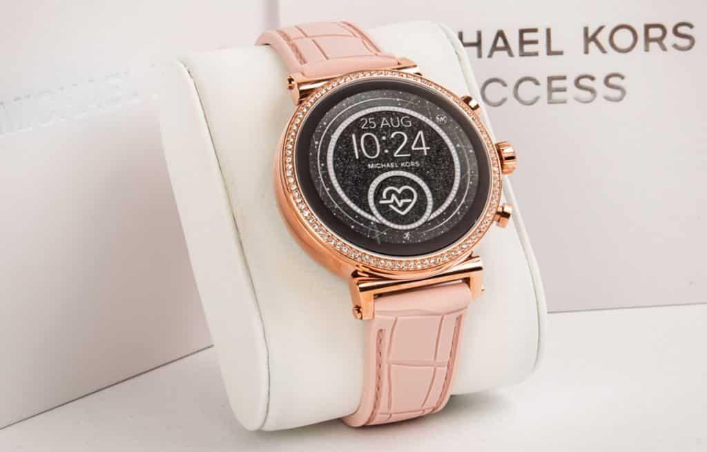 Smart hodinky Michael Kors s ružovým koženým remienkom