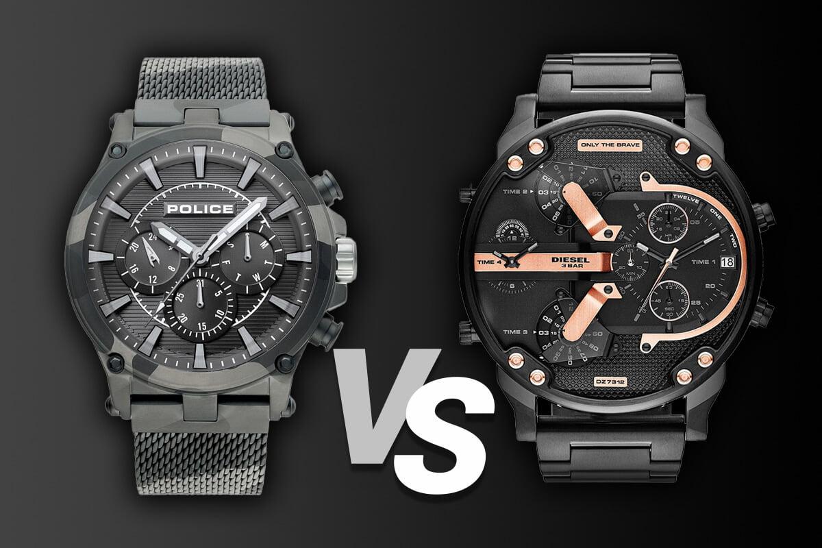 Veľké pánske hodinky Police a Diesel
