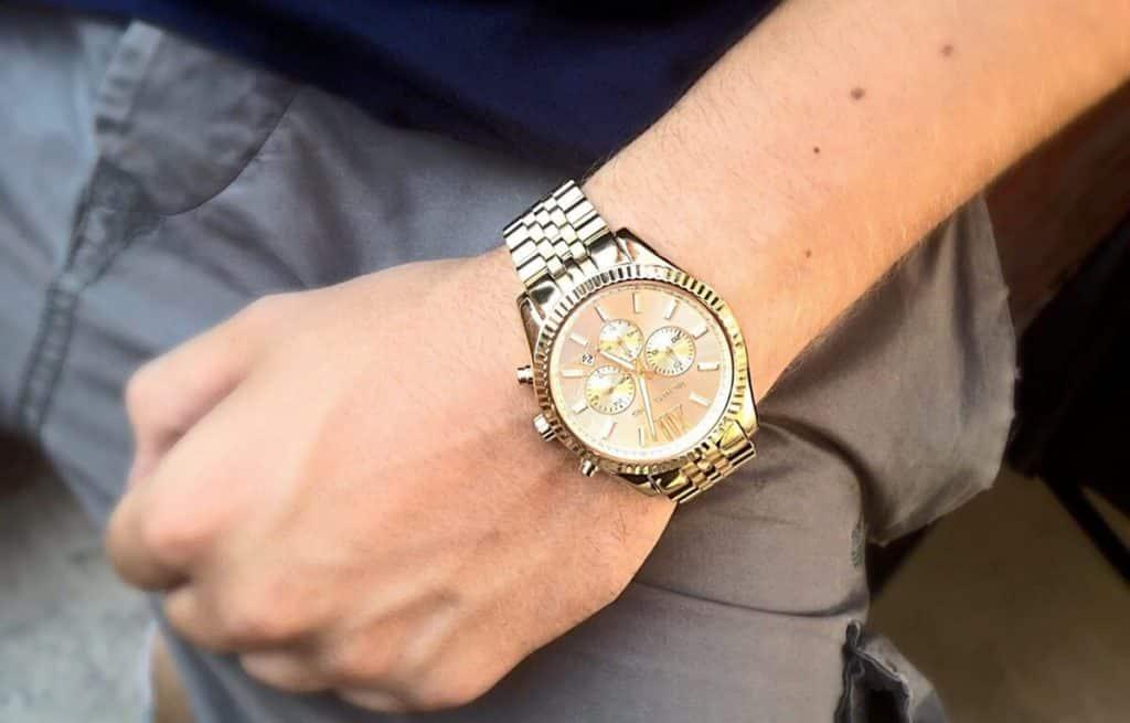 Zlaté pánske hodinky Michael Kors s veľkým ciferníkom