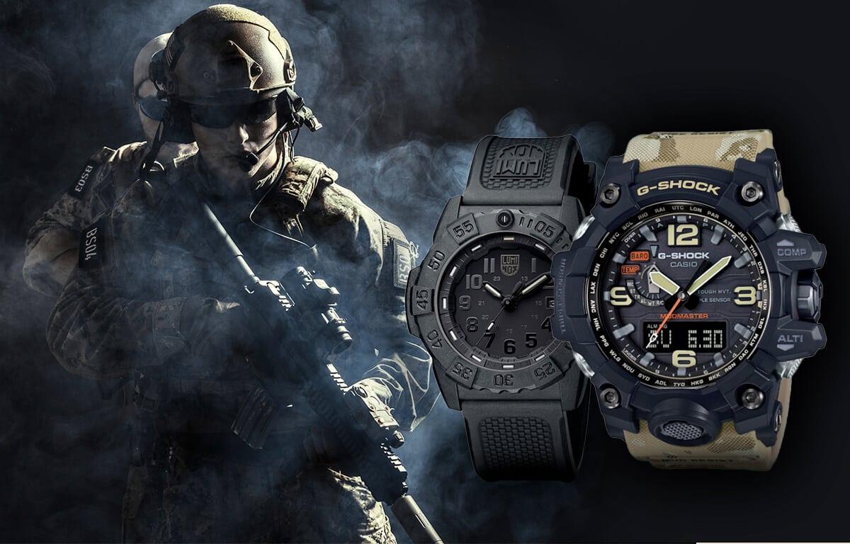 Vojenské hodinky Luminox a Casio Mudmaster