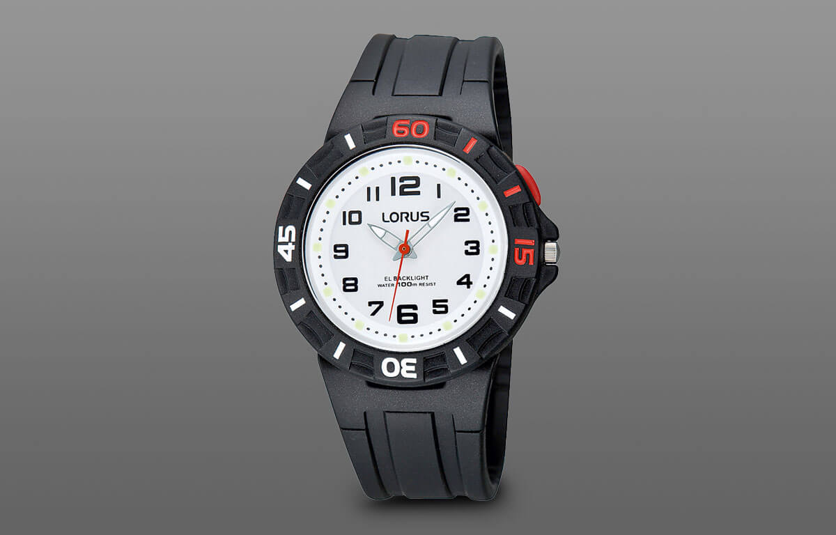 Jednoduché chlapčenské hodinky Lorus s gumeným remienkom