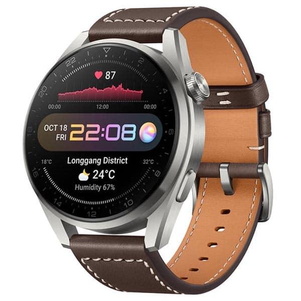 Inteligentné hodinky Huawei Watch 3 Pro s hnedým koženým remienkom