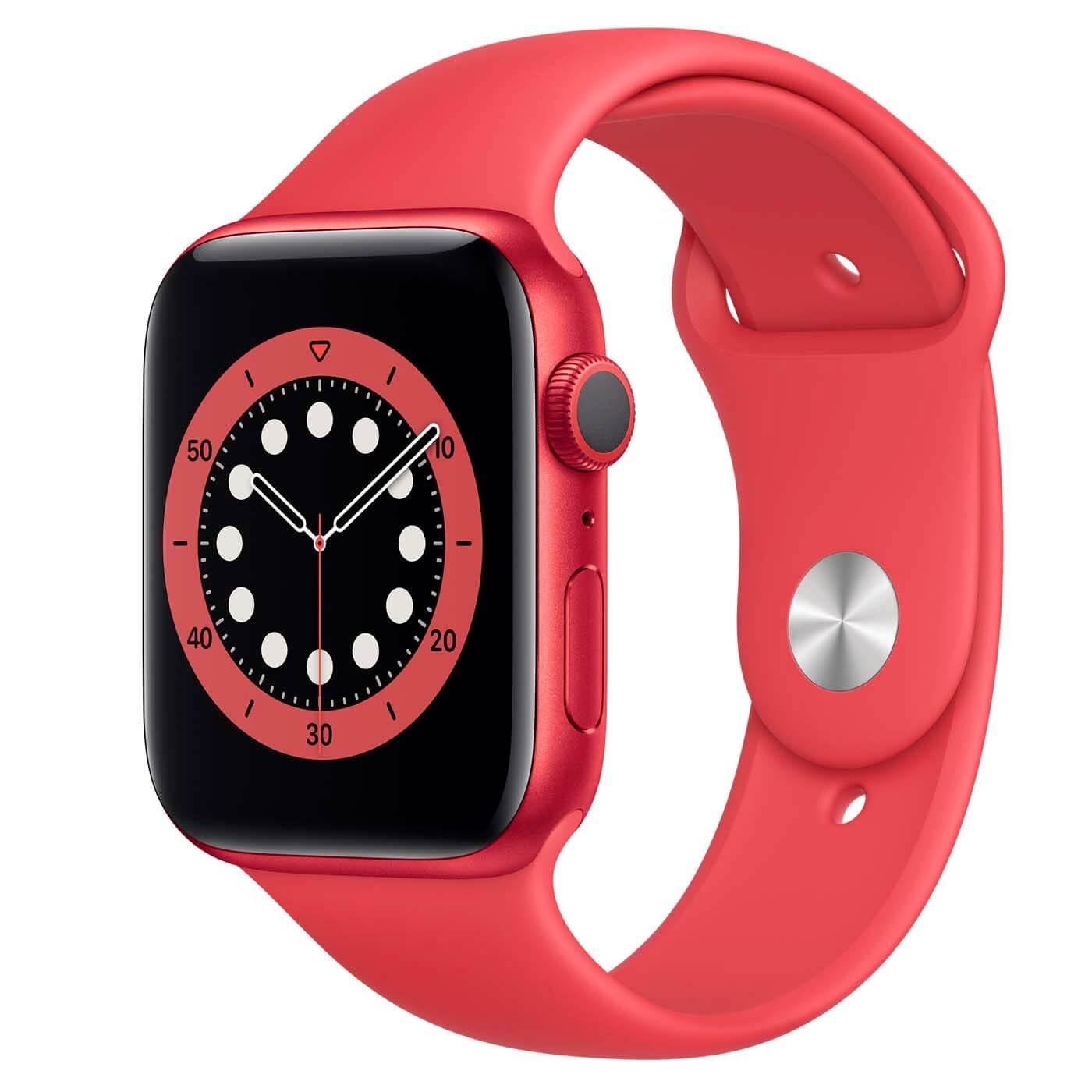 Červené smart hodinky Apple Watch 6