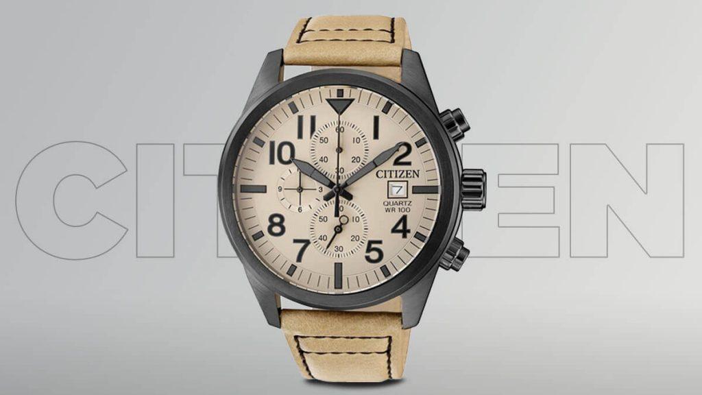 Lacné pánske hodinky Citizen s hnedým remienkom