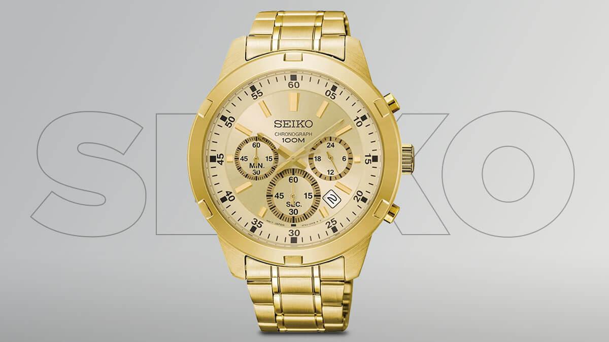 Zlaté pánske hodinky Seiko s chronografmi